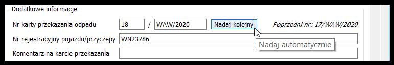 Automatyczne nadawanie numeru Karty przekazaniaodpadów