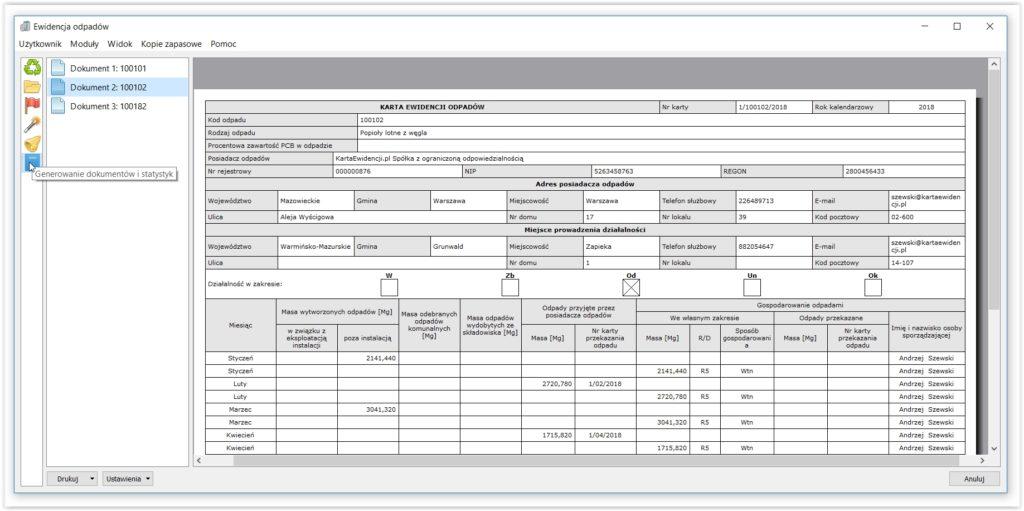 Program ewidencja odpadów - Karta ewidencji odpadów wygenerowana automatycznie w aplikacji