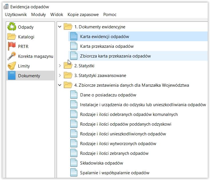 Program ewidencja odpadów - ekran główny aplikacji