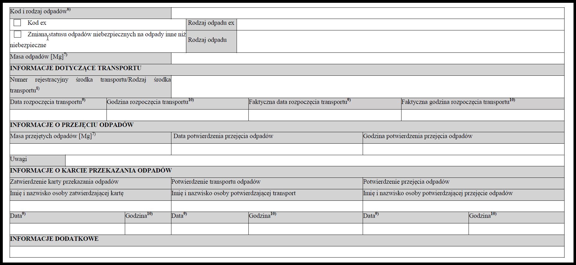 Wzór papierowej karty przekazania odpadów KPO2020