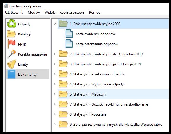 Program ewidencja odpadów 2020 - ekran główny aplikacji
